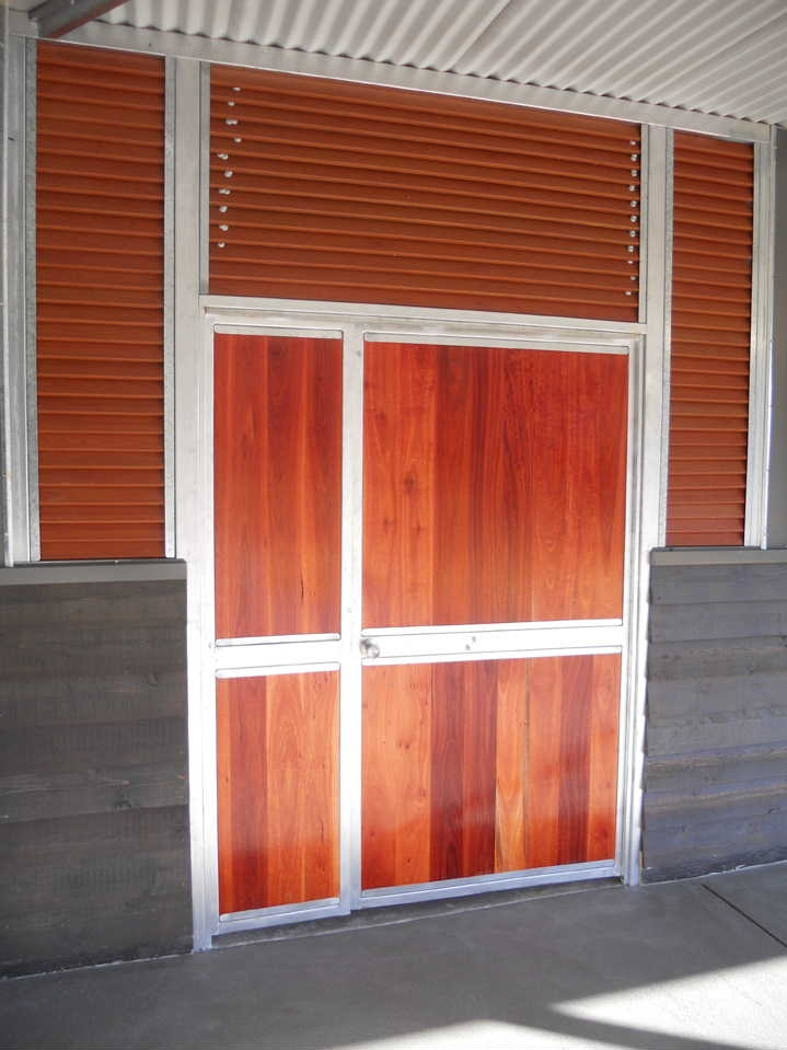 Wood Feed Room Doors with Louver vents