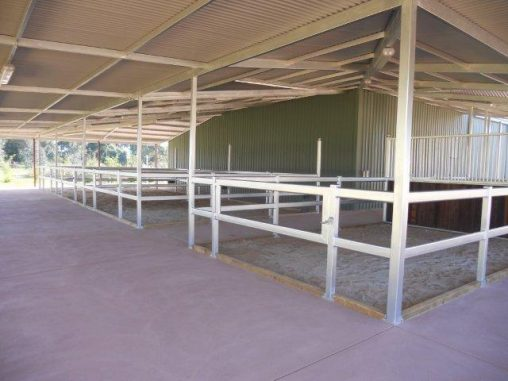 Under cover stables open yards