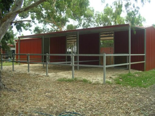 Steel yards 2 rails with gates and roof cover to half the yards off the back of stables