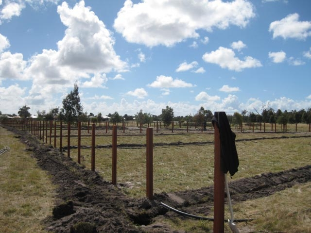1G-Property Fencing post only not painted and Reticulation trenches