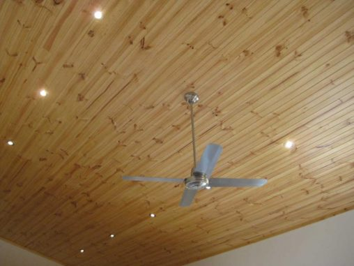 Pine tongue and groove ceiling