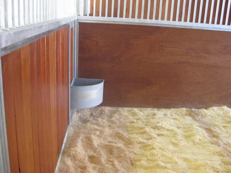 Feed dish inside stall, sheoak front kick boards, ply wood divider to stalls, wood shaving bedding