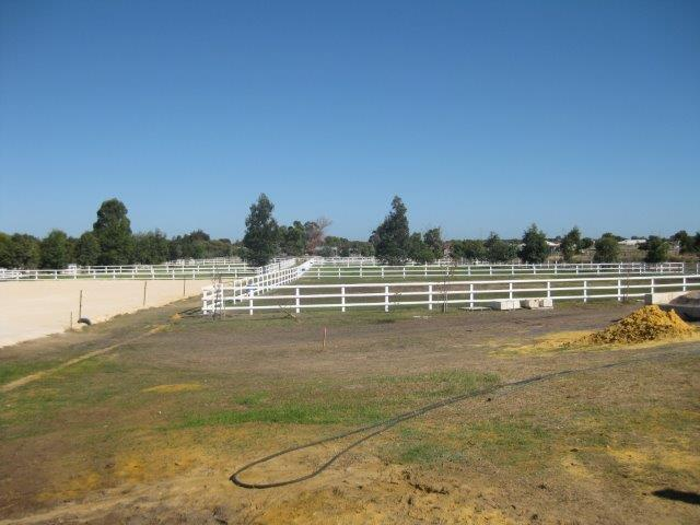 1L Paddocks post and rail painted White before Indoor Arena