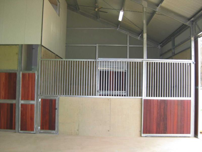 Concrete stall, steel bars with jarrah finish