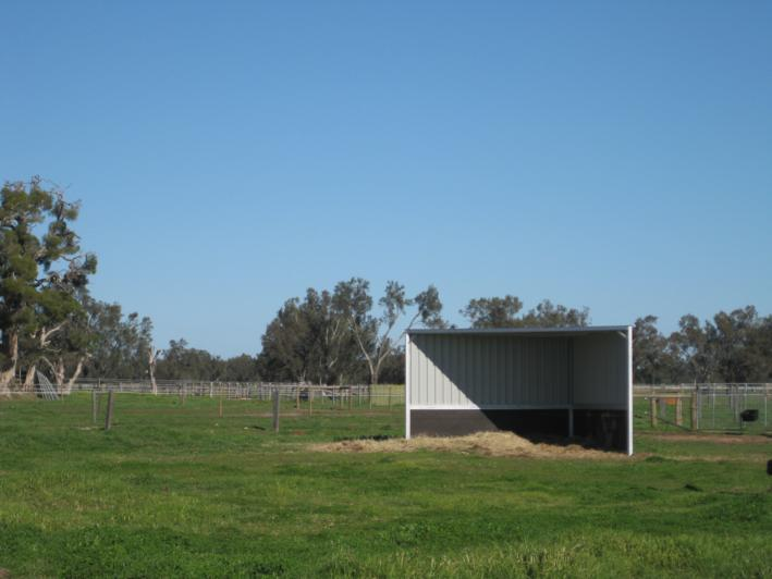 2 Sided shelter, rubber side walls 1200mm high, rubber to protect horses in and outside of shelter (front view)