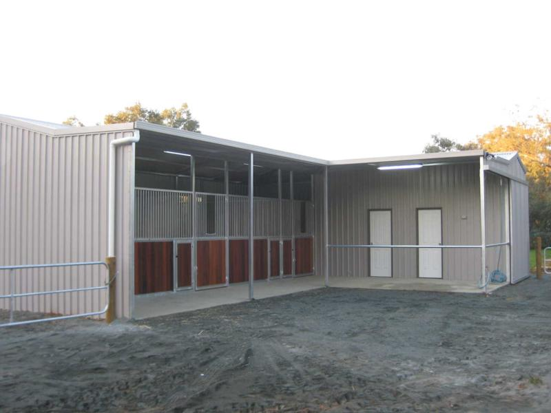 Stables in a line with feed/Tack/Wash Bay