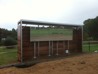 Arena Mirrors and wood lined shelter